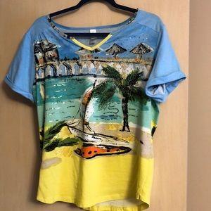 Tropical Embellished T-shirt size large Like New